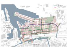 Planområdet börjar strax norr om Centralstationen och sträcker sig fram till Frihamnen i norr och Västkustvägen i öster.