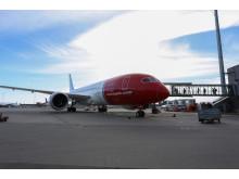 Norwegians Dreamliner ved Oslo Lufthavn