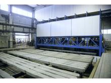 Tillverkning av betongsliper vid Abetongs fabrik i Vislanda