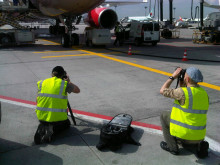 The Cavotec film crew at Frankfurt Airport.