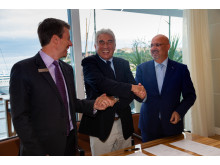 Hi-res image - Inmarsat - From left: Rob Myers, Senior Director, Large Yacht and Passenger, Inmarsat Maritime; Bernard d'Alessandri, General Secretary, Yacht Club de Monaco; Dr. Ilhami Aygun, President and CEO SSI-Monaco