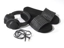 sony h.ear on black headphones with beach sliders