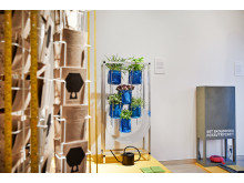 Bild på flera verk från utställningen In My Backyard
