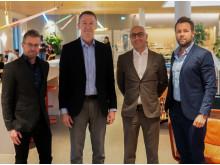 Per Åkesson, Business Area Manager Autonomy Products & Solutions, Hans Torin, vd Combitech, Haval van Drumpt, vd Tre Sverige, Anders Högsell, Head of Carrier Business Scandinavia.