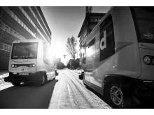 Självkörande bussar från Nobina, svartvit