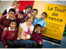 SCHOOL VISIT: Gold medal Olympic winning and world champion cyclist Joanna Rowsell MBE visited Spotland Primary School in Rochdale to talk about her love of cycling and the Tour de France.
