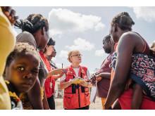 Ulla-Greta Pettersson från Svenska Röda Korset på plats i Beira.