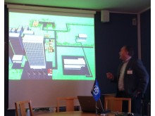 Anders Möller, VD på Security Solution, presenterar Socrates Education Game hos ÅF