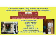 Wir der Pax et Bonum Verlag bedanken uns von Herzen bei der Preussen-Apotheke für die Unterstützung zur Bekanntmachung der Veranstaltung.