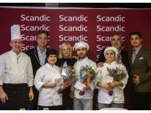 Vinnande laget och juryn från Scandics Kockskola