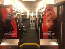 Netflix i samarbete med MTR Express, folierat tåg. Invändig bild.