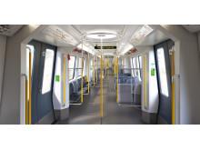Stockholms tunnelbanetåg C30 interiör
