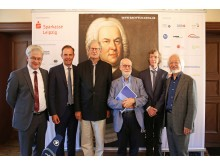 Bachfest Leipzig 2018 - Bach-Interpreten mit Vertretern des Bach-Archivs Leipzig - Prof. Peter Wollny, Dr. Michael Maul, Sir John Eliot Gardiner, Ton Koopman, Gotthold Schwarz, Masaaki Suzuki (v. l.)