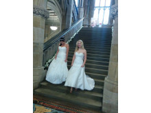 Blushing brides: Models show off the latest bridal fashions