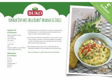 Rezeptkarte Fondue Dip mit Arla Buko® Ananas & Chili