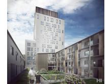 Kvarteret Träkronan, innergård, boende