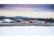 Three Norwegian aircraft in a row