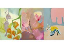 Detaljer ur målningar av tre av konstnärerna