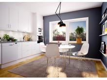 Illustration av köket i husen på Snöstorps bygata, Halmstad