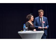 Terese Bengard, Hela Sverige Ska Leva talade. Här i samspråk med en av dagens moderatorer: Campus Gotlands Olle Jansson