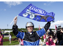 Björn Goop firar segern med Timoko i Elitloppet 2014