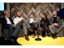 Ulf Viktorsson, Modexa, Niklas Andersson, Sizes, Samuel Holmqvist, Lundqvists trävaru, Rahel Belatchew, Belatchew Arkitekter och Jed Klebanow, Fullstack Modular satt i panelen på Nordic ConTech Talks.