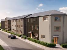 Brf Elins Trädgårdar - 3D-bild av flerbostadshus från lokalgata.