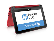 HP Pavilion x360 Right facing with product name on screen red