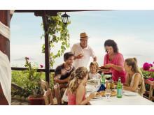 Familie på restaurant