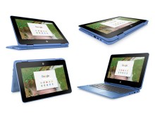HP Chromebook x360 blue four modes in square
