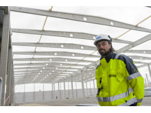 Projektledare Olof Raning vid Biltemas nya lager i Halmstad