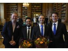 Finalisterna Fadi Matloub (Årets nybyggare, Sörmland) och Robeir Saliba (Årets pionjär, Stockholm) tillsammans med Carl-Henrik Koit (vd, Almi Stockholm Sörmland) och Göran Lundwall (Koncernchef, Almi)