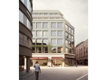 Visionsbild, detaljplan, Inom Vallgraven, vy från Östra Larmgatan