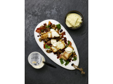Torskrygg med potatispuré, champinjoner, bacon och Eriks® tryffelaioli
