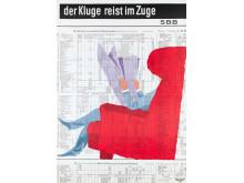 Werner Belmont (Text), Hans Thöni (Grafik), Der Kluge reist im Zuge, 1958, Museum für Gestaltung Zürich, Plakatsammlung, © SBB AG