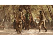 SYRIEN - Ahrar al-Sham, en grupp Syriska rebeller tränar utomhus i norra Aleppo.