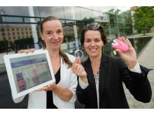 Elevator Pitch der Stiftung für Technologie, Innovation und Forschung Thüringen am 14.06.16 in Erfurt. Im Bild Bettina Brammer, und Heike Masurek von der VivoSensMedical GmbH.