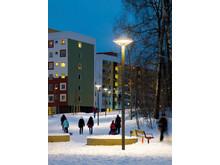 Ett trygghetsprojekt i Albyparken i Botkyrka kommun, ljusdesign: Olsson & Linder