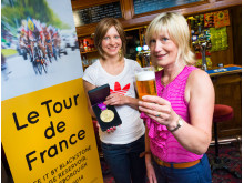 GEARING UP:  Joanna Rowsell MBE meets Natalie Marney, landlady of the White House Pub, who are preparing for a busy day this Sunday.