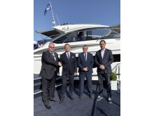 High res image - PMYS - From left: Colin Capewell, MD Princess Motor Yacht Sales; Robbie Head, Princess Ibiza; Roger Lipman, Sales Director Princess Motor Yacht Sales; Will Green, Chief Sales Officer Princess Yachts