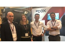 L-R, Piet de Wolf, Laurina van der Maas, Martin Wijs of De Wolf and Joel Reid,  Global Sales Director, Cox Powertrain