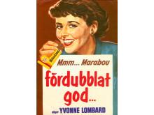 """Reklambild """"Fördubblat god"""" med Yvonne Lombard, 1957"""