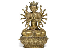 Avalokitesvara of gilt bronze. Estimate: DKK 800,000-1,200,000 / € 105,000-160,000.