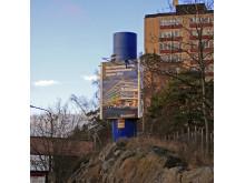 Fristående skylt Nya Karolinska Solna