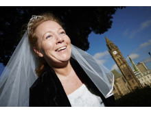 STAIRWAY TO HEAVEN: Bride Emma Metcalfe will be abseiling down Rochdale Town Hall on her wedding day