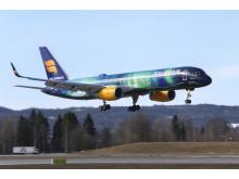 Hekla Aurora på vei inn for landing ved Oslo Lufthavn.