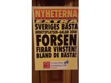 Forsen på plats 12, 2016. Sveriges bästa arbetsplatser. (GPTW)