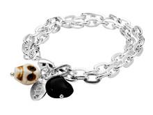 Dråpe - rocka armbånd med hodeskaller i fargen sølv
