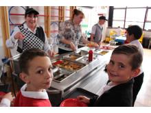 Year 4 pupils Jordan and Jake celebrate USA day during Castleton's World Cup Week