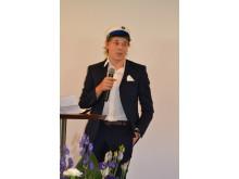 Rasmus Nordahl Nielsen holder tale på elevernes vegne.